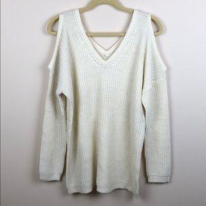 Ambiance - Cold Shoulder V-Neck Sweater